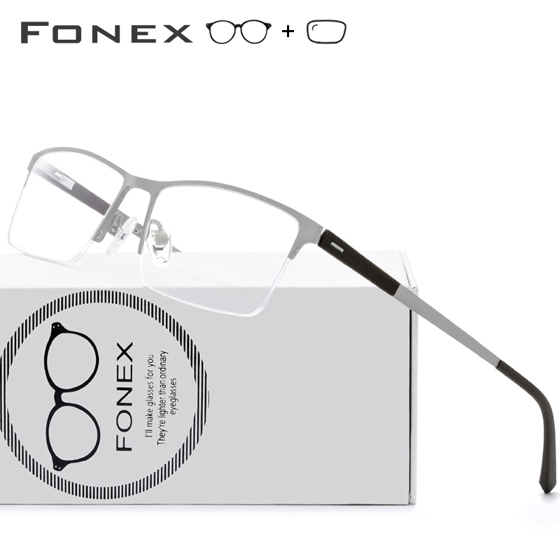 TR90 Alloy Optical Frame Men Semi Rimless Half Rim Square Myopia Eye Glass Screwless Eyewear Prescription