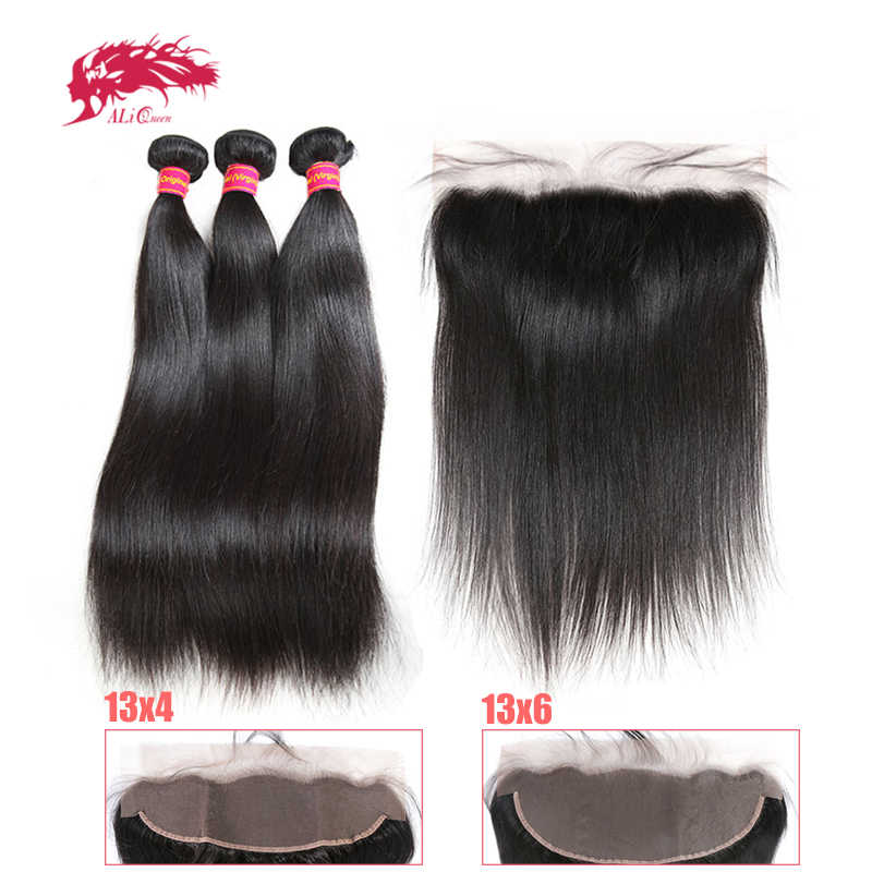 Straight Hair Bundles With Frontal Ali Queen Hair 3Pcs Virgin Remy Human Hair Bundles With 13x4 Pre Plucked Lace Frontal Closure