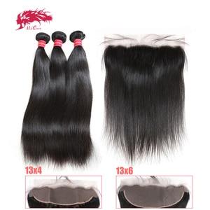 Pacotes de cabelo reto com frontal ali rainha do cabelo 3 pçs virgem remy pacotes de cabelo humano com 13x4 pré arrancadas fechamento frontal do laço