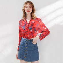 AcFirst Autumn Women Tops Casual Red T-shirts Solid Shirt V Neck Cotton Sexy Tees Floral Chiffon Blouse