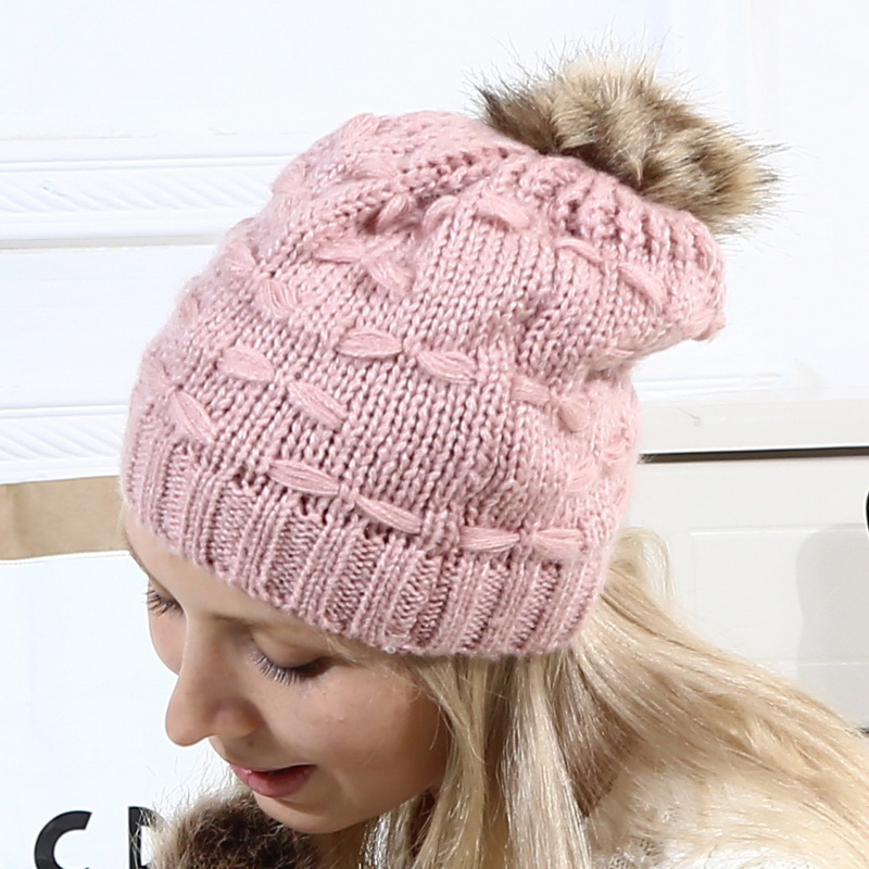 1PC Baby Kids Winter Warm Hats 2019 New Knit Beanie Fur Pompon Children Hats Fashion Caps Crochet Parent Child Hats in Women 39 s Skullies amp Beanies from Apparel Accessories