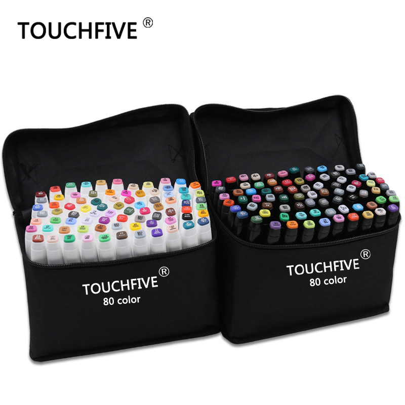 TouchFive Marker 30/40/60/80/168 Colors Pen Brush Pen Alcoholic Oily Based Ink Art Marker For Manga Dual Headed Sketch Markers