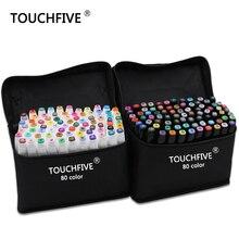 マーカー Touchfive 色ペンブラシペンアルコール油性系インクアートマーカーのためのマンガデュアル頭スケッチマーカー 30/40/60/80/168