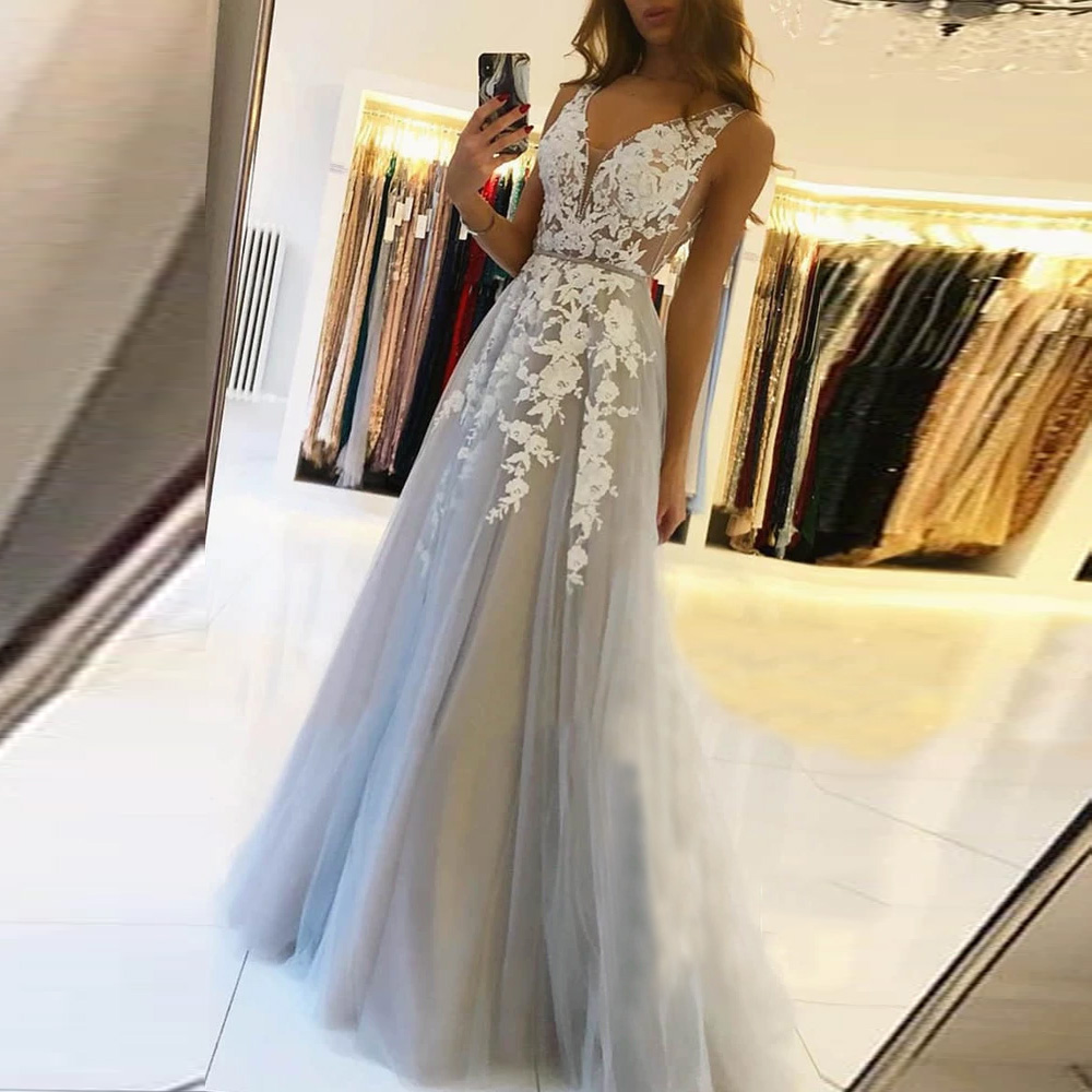 BEPEITHY V Neck Long Prom Dresses 2021 For Women Sexy Gray Summer Backless White Lace Dubai Evening Party Gown New