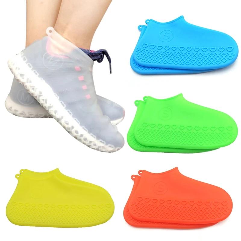 1 Pair Rubber Reusable Silicone Waterproof Rain Shoes Covers Slip-resistant Rain