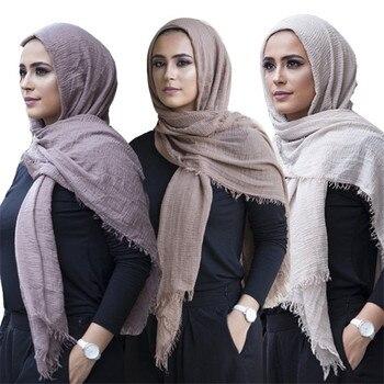 2020 women bubble cotton solid Islam muslim head scarf shawls and wraps pashmina female foulard