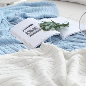 Image 3 - 솔리드 컬러 담요 침대 커버 소프트 던지기 담요 침대보 침구 니트 담요 에어 컨디셔닝 편안한 잠자는 침대 커버