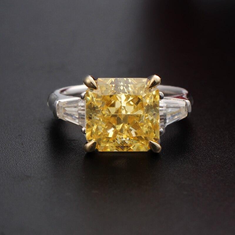 À la mode 9K jaune blanc deux Multi ton or 11Carats simulé fantaisie jaune diamant bagues de fiançailles pour les femmes Moissanite Accent