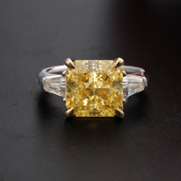 Trendy 9K Yellow White Two Multi Tone Gold 11Carats Simulated Fancy Yellow Diamond Engagement Rings For Women Moissanite Accent