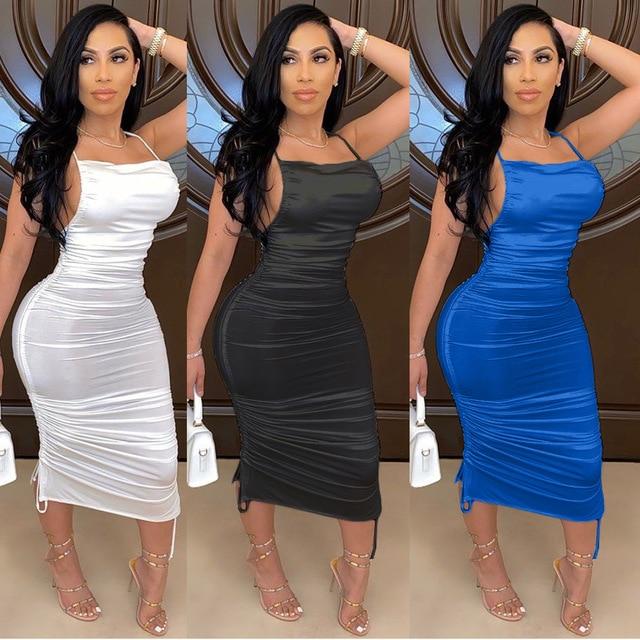 Echoine Strap Sleeveless Lace Up Backless Midi Dress Black Elegant Party Club Skinny Pleated Stacked Summer Dresses Vestidos 1