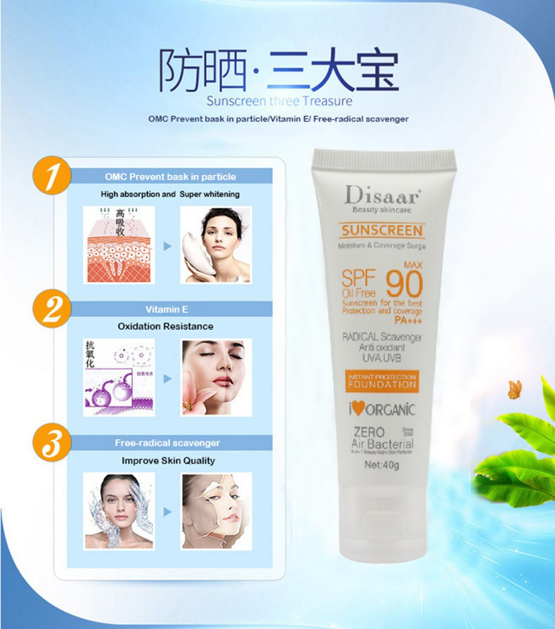 Facial Body Sunscreen Whitening Sun Cream Sunblock Skin Protective Cream Anti-Aging Oil-control Moisturizing SPF 90 Face