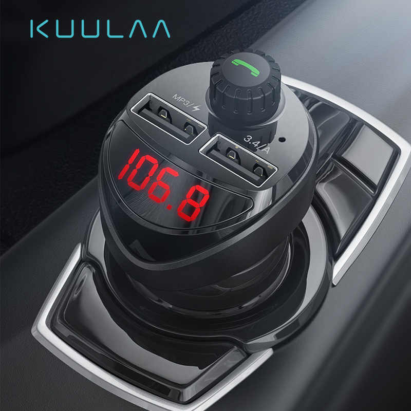 Kuulaa Charger Mobil FM Transmitter Bluetooth Receiver Audio MP3 Player Kartu TF Mobil Kit 3.4A Dual USB Mobil Phone charger