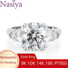 NASIYA Solid 14k White Gold Three Stone Moissanite Engagement Ring for Women With Center Round Moissanite and Side Pear Shaped