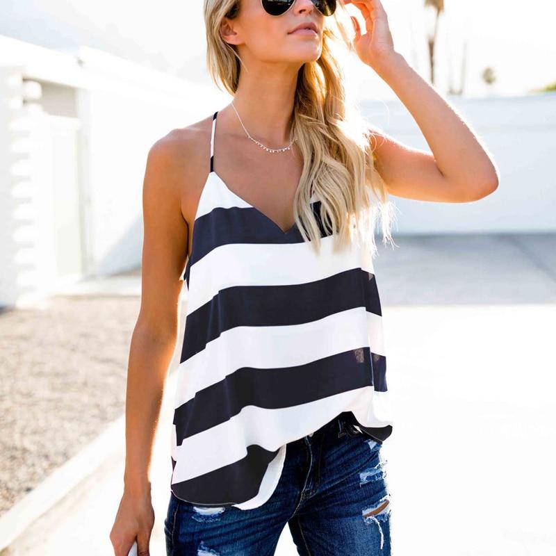 Striped Casual Cotton   Tank     Tops   Women Summer Spaghetti Strap Camis   Top   Women Basics Backless Debardeur Femme Sexy Vest   Top