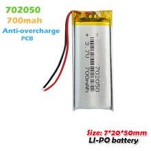 702050 3.7v 700mah litowo-polimerowe akumulatory do MP3 MP4 MP5 zabawka nawigacja GPS LED light zestaw słuchawkowy Bluetooth głośnik