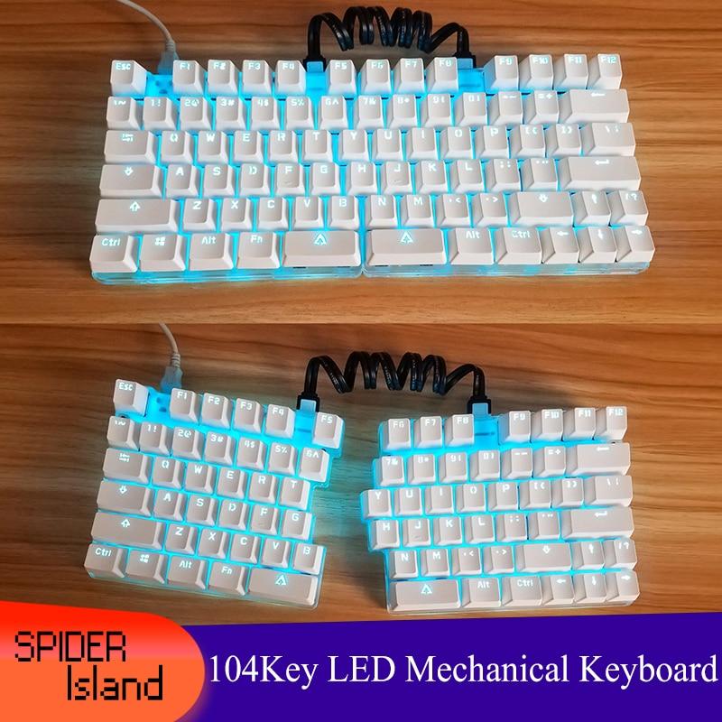 Separate Split Mechanical Keyboard Full Key Programmable Custom Button Light USB LED Backlight 87 Keys Keyboard