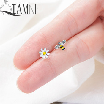 QIAMNI Cute Asymmetric Zircon Bumble Bee Stud Earrings Birthday Gift Crystal Bird Insect Sun Flower Piercing Earring Pendientes image