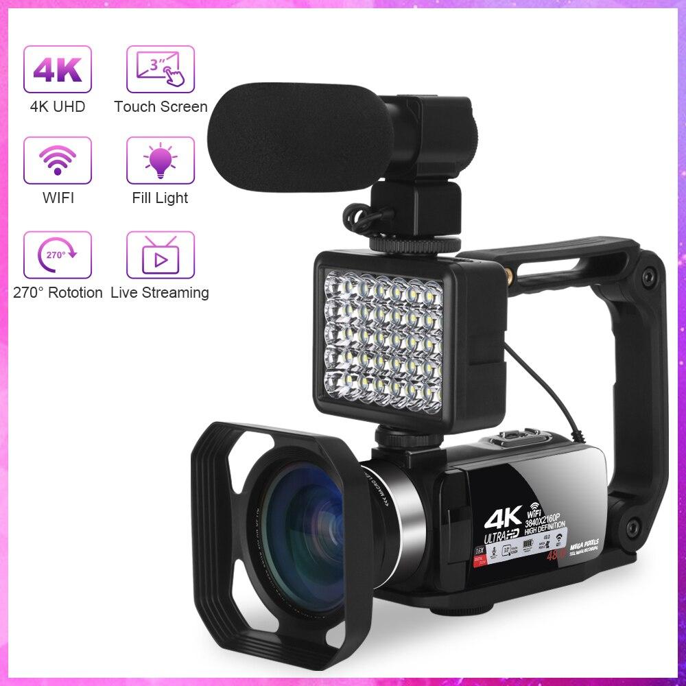 Видеокамера KOMERY, видеокамера, цифровая камера, записывающее устройство, Ultra HD 48 МП, 3,0 дюйма, вращение на 270 градусов, ввоз для веб-камеры