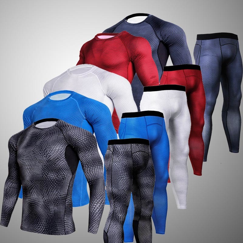 Winter Men's Thermal Underwear Home Suit Running Sports Top Compression Underwear Tights With Pattern Fitness Jogging MMA