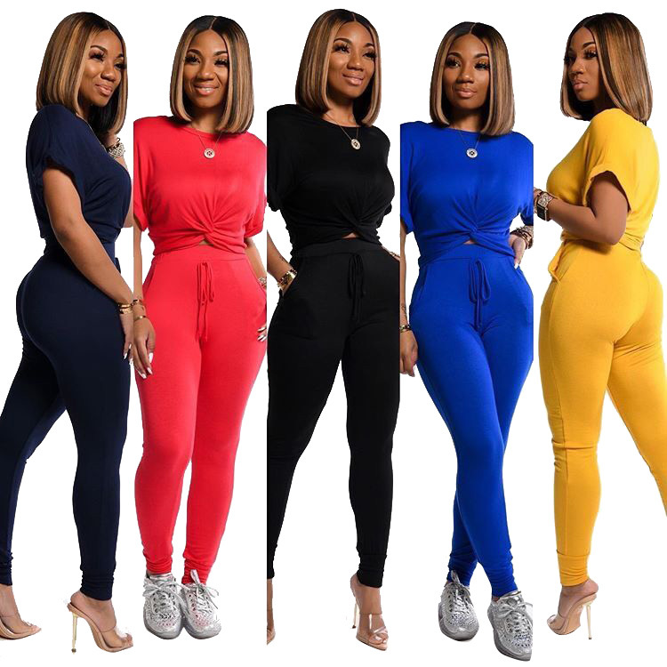 2020 Women Sets Summer Tracksuits Short Sleeve Cross Top+Pants Suit Two Piece Set Sportswear Night Club Party Outfits
