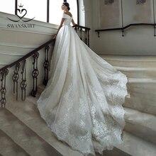 Swanskirt lüks boncuklu düğün elbisesi 2020 sevgiliye kapalı omuz aplikler A Line Lace up prenses gelin Vestido de novia GY23