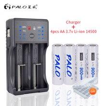 3.7v 14500 aa充電式バッテリー2A batteria 900リチウムイオン二次電池充電式充電器単三電池18650