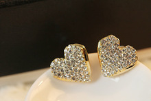 Korean Fashion Inlaid Crystal Heart-shaped Earrings Simple and Romantic Ladies Jewelry