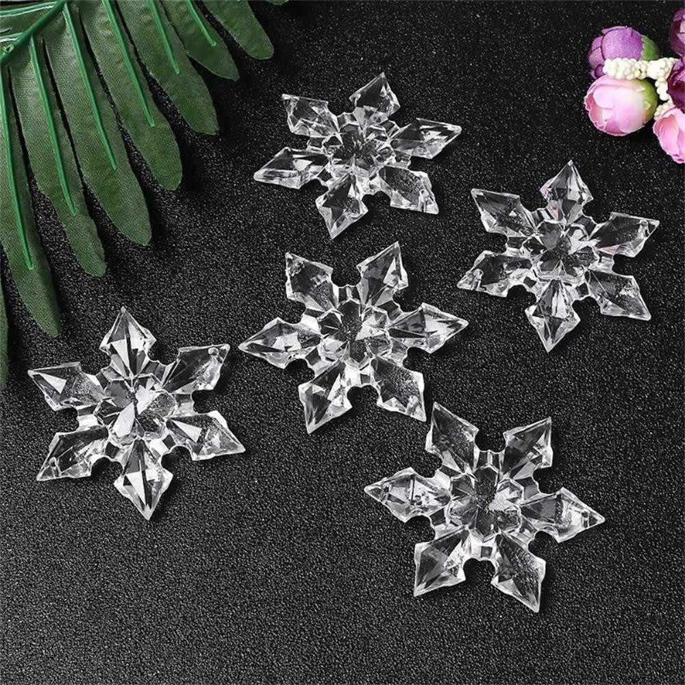 12pcs Christmas Pendant Snowflake Clear Crystal Acrylic Rhinestone Frozen Xmas tree DIY christmas decorations home Craft navidad