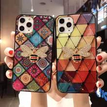 Luxury marble glitter diamond bee bracket silicone phone case for iphone X XR XS 11 pro MAX 7 8 6S plus for samsung S8 S9 S10 luxury 3d diamond print cell phone case for iphone 6s 7 8 plus xr xs max crystal holder for samsung galaxy s9 s10 note 8 9 cover