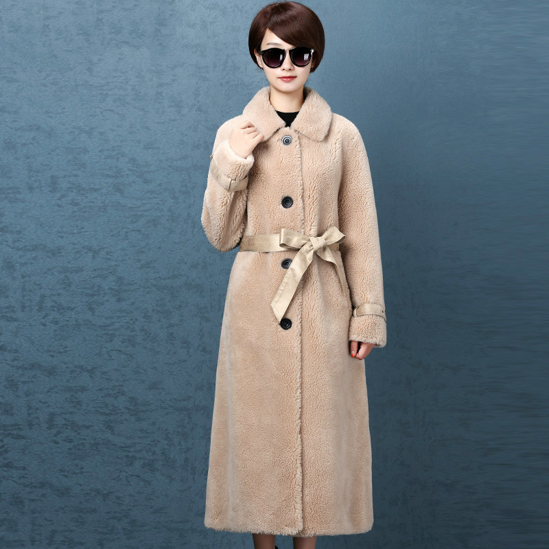 Coat Fur Real Women Sheep Shearing Winter Coat Women Korean Long Jacket Women Clothes 2020 Manteau Femme NK58572 YY1432