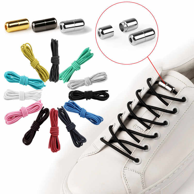 1Pair No tie Shoelaces Round Elastic