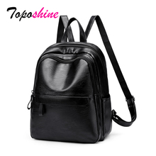 Toposhine 2019 New Women PU Luxury Backpacks Mochila Feminina Simple Zipper Large Capacity Leisure Travel