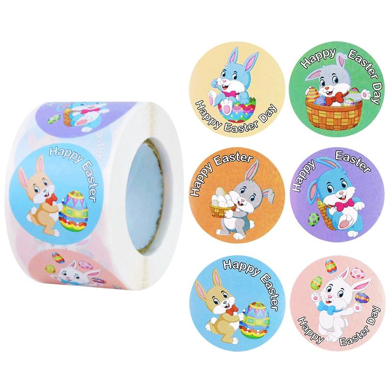 500p 1.5 inç yuvarlak tavşan tavşan mutlu paskalya çıkartmalar hediye çantası kutusu zarf mühür etiket etiket paskalya dekor el yapımı etiket