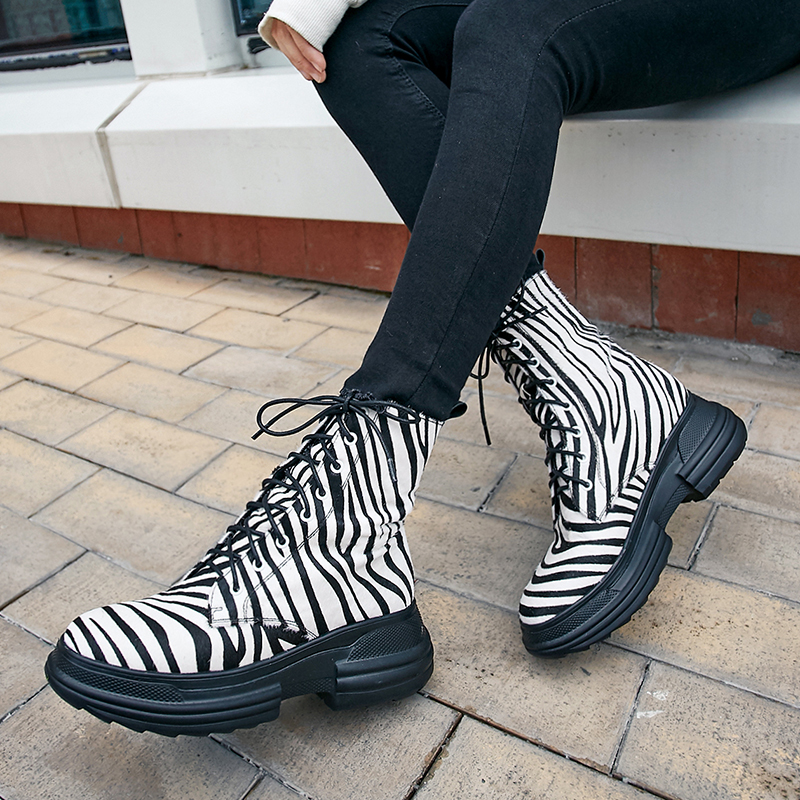 Rimocy Womens Genuine Leather Boots Fashion Zebra Striped Chunky Platform Winter Shoes Woman Ankle Combat Lace Up Biker Boots