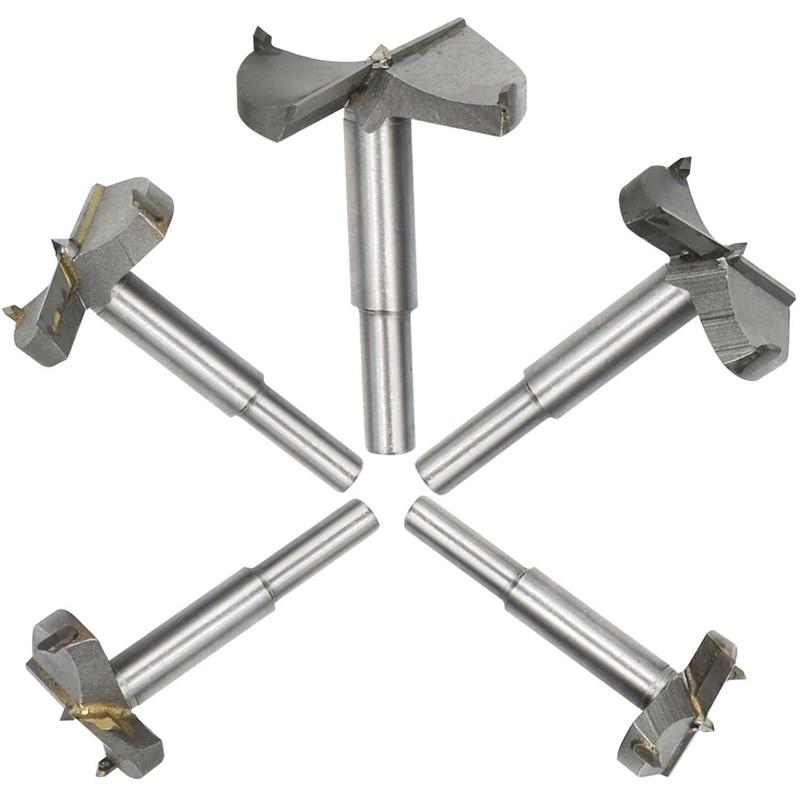 5-piece Set, Fraeser Milling Cutter Pot Drill With Center Point, Wood Drill Bit Carbide 35/40/45/50/60 Mm Diameter, Knothole Dri