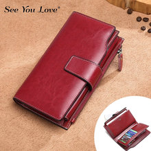 Vintage Female Purses Women Wallets 2019 New Luxury Genuine Leather Clutch Long Zipper Retro Lady Purse Woman Wallet Card Holder