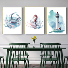 Nordic Poster Cartoon Canvas Painting Sea Animal Abstract Watercolor Crab Lighthouse Wall Pictures For Living Room Home Decor