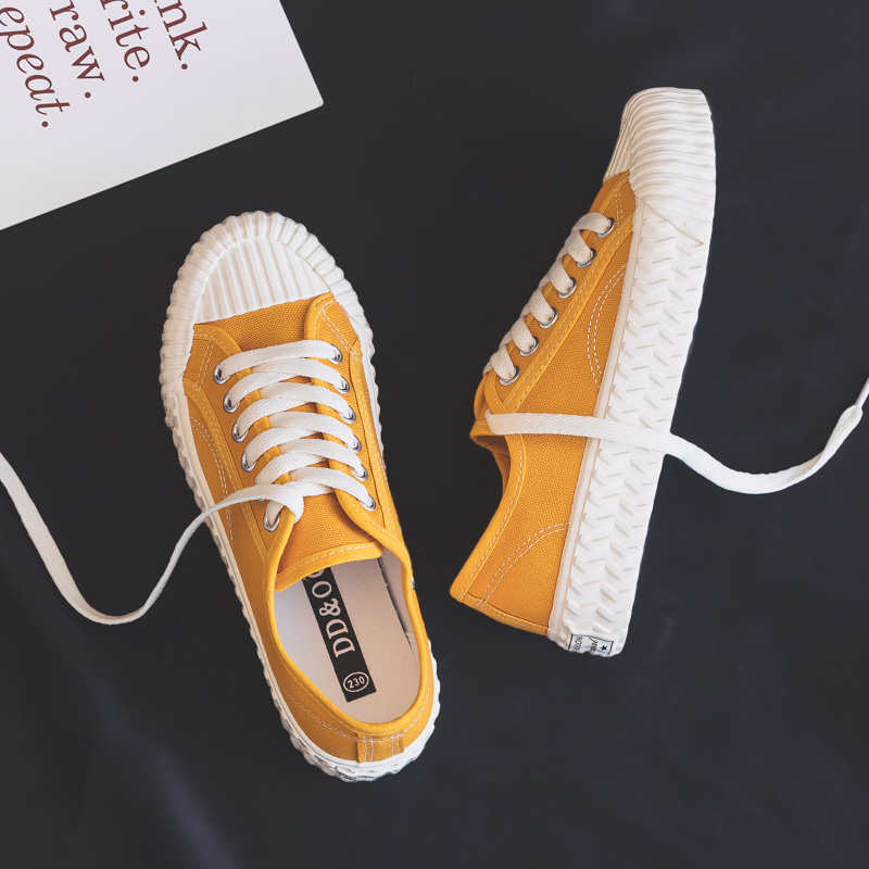 Solid Color Canvas Women's Shoes Autumn 2019 Wild Breathable Students Flat Bottom Shoelace Shallow Vulcanized Sports Shoes Women