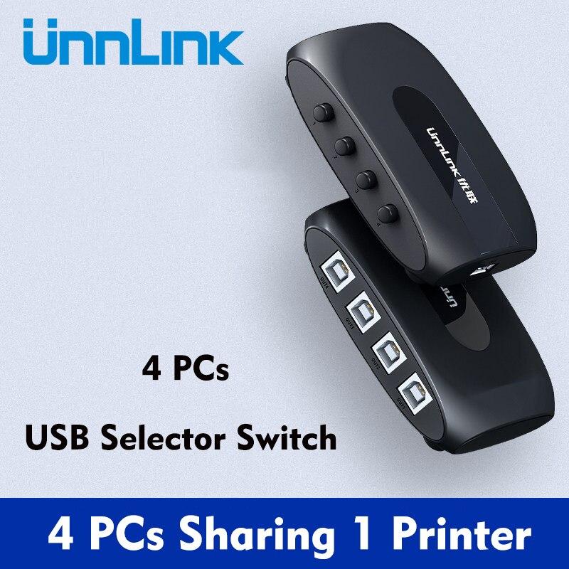 Unnlink 4 порта USB 2,0 переключатель для ПК ноутбука совместное использование USB устройство переключатель Адаптер для U-диска сканера мыши принте...