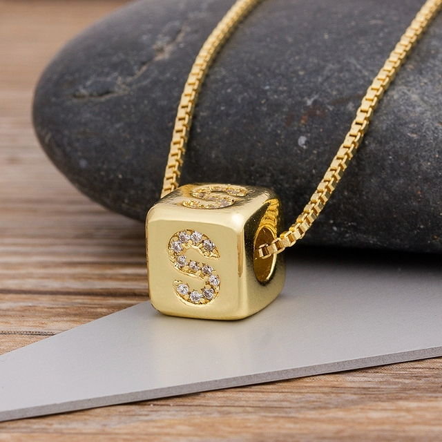 2020 Hot Sale A-Z Initials Micro Pave Copper CZ Cube Letter Pendant Necklaces For Women Men Charm Chain Family Name Jewelry Gift 1