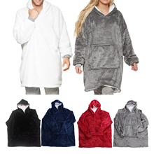 Hoodie Nightwear Blanket Wearable Sweatshirt Cozy Flannel Teens Adult Super-Soft