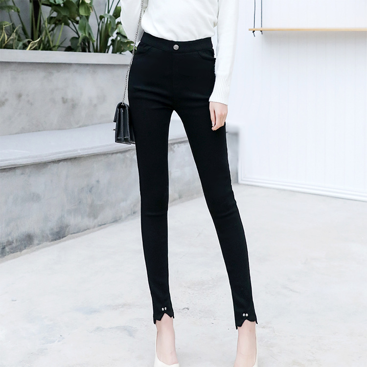Spring And Autumn Foot Mouth Slit Pencil Pants Outer Wear Not Wiredrawn Leggings Ultra-stretch No Deformation Slim Fit Skinny Pa