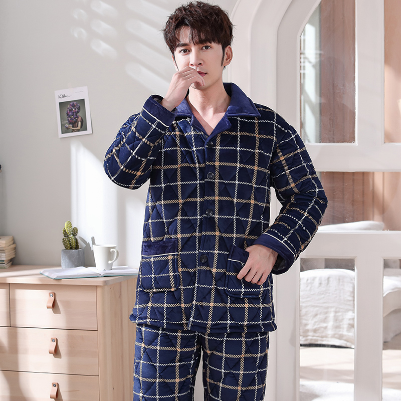 Winter Keep Warm Plaid Quilted Pajama Sets Soft Men Sleepwear Winter Lounge Set Three Layer Coral Fleece Thick Quilted Jacket
