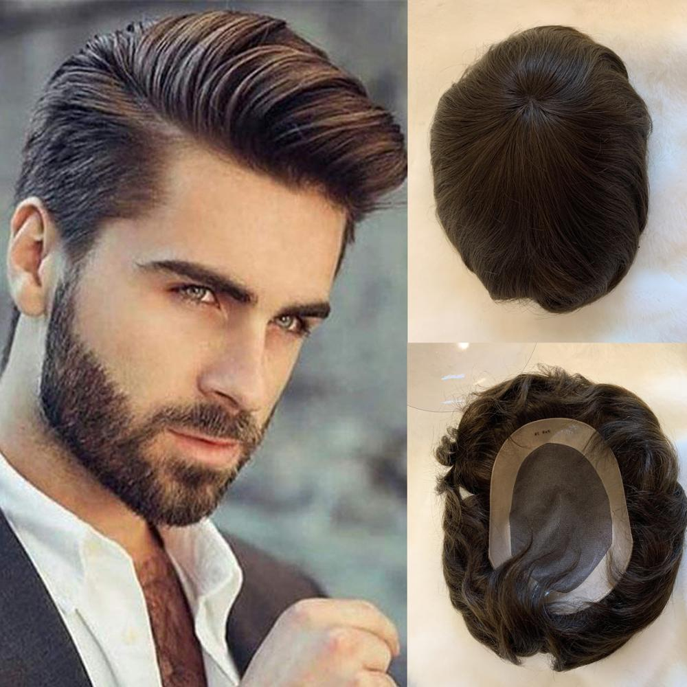 BYMC Human Hair Toupee For Men, European Human Hair Pieces For Men With 10