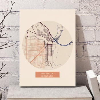 Missoula Montana City Maps Minimalist Canvas Poster Art Print Wall Pictures for Living Room No Frame image