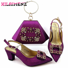 African Special Design Nigerian Lady Shoes and Bag to Match High Quality Italian Women Shoes and Bag Set For Royal Wedding Party
