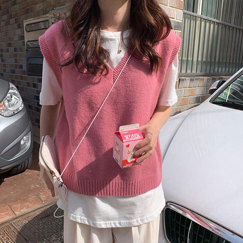 Женский однотонный вязаный жилет, 4 цвета, свитера в Корейском стиле с v-образным вырезом без рукавов на осень и зиму, X1086, 2019