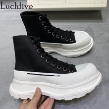 Wedges Shoes Short-Boots Runway Thick-Sole Black Casual Women Lace-Up Ankle for Round-Toe