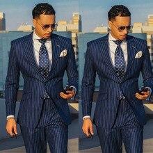 Темно-синие полосатые мужские смокинги для жениха, деловые вечерние смокинги, Свадебный костюм на заказ