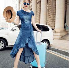 Women maxi jean dresses Summer Long Denim Dress mermaid ruffle Vestido Female fishtail Jeans